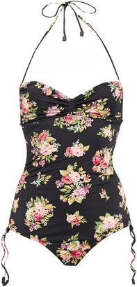 Zimmermann Ruched Floral-print Halterneck Swimsuit