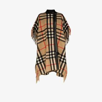 Burberry Womens Multicolour Check Cape With Leather Piping