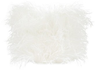 ATTICO Feathered Strapless Cotton Crop Top - Ivory