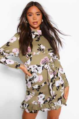 boohoo Floral High Neck Puff Sleeve Mini Dress