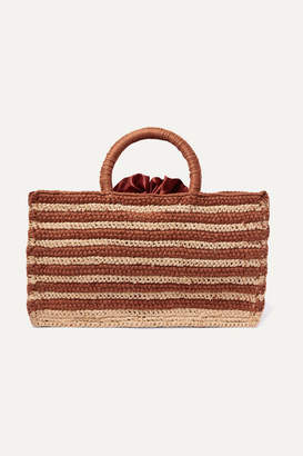 Mizele - Muze Mini Striped Crocheted Raffia And Cotton Tote - Brown