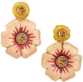 Silvia Furmanovich Marquetry 18K Rose Gold & Multi-Stone Flower Earrings