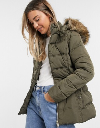 New Look fitted padded jacket in khaki