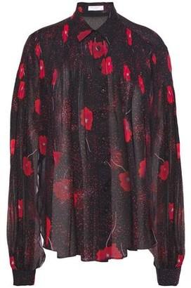 Equipment Jaslyn Pintucked Floral-print Silk-chiffon Shirt