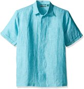 Cubavera Cuba Vera Men's Short Sleeve Cross Dyed Woven Shirt with Pocket