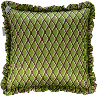 Preen by Thornton Bregazzi Diamond Satin Reversible Cushion - Black/Pistachio - 50x50cm