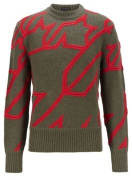 HUGO BOSS Virgin Wool Sweater With Embroidered Houndstooth - Light Green