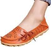 Fisca Lady Pebbled Leather Drivers Casual Flat Loafer Shoes with Breathable Hole- 36