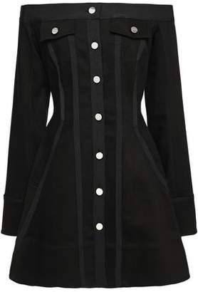 David Koma Off-the-shoulder Flared Button-detailed Denim Mini Dress