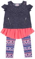 Little Lass Navy & Coral Ruffle Tunic & Leggings - Toddler