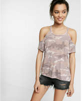 Express Camo Cold Shoulder Scoop Neck Tee