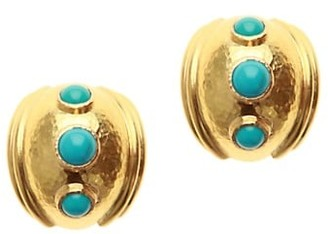 Elizabeth Locke 19K Yellow Gold & Sleeping Beauty Turquoise Small Puff Earrings