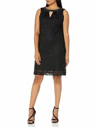 Sandra Darren Women's 1 PC Sleeveless Lace/Glitter A line Key Hole Neck Dress