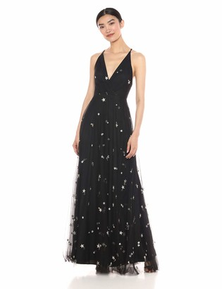 Jenny Yoo Women's Chelsea Starry Night Embroidered Metallic Long Tulle Gown