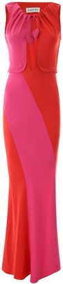 Lanvin Colour Block Rouched Maxi Dress