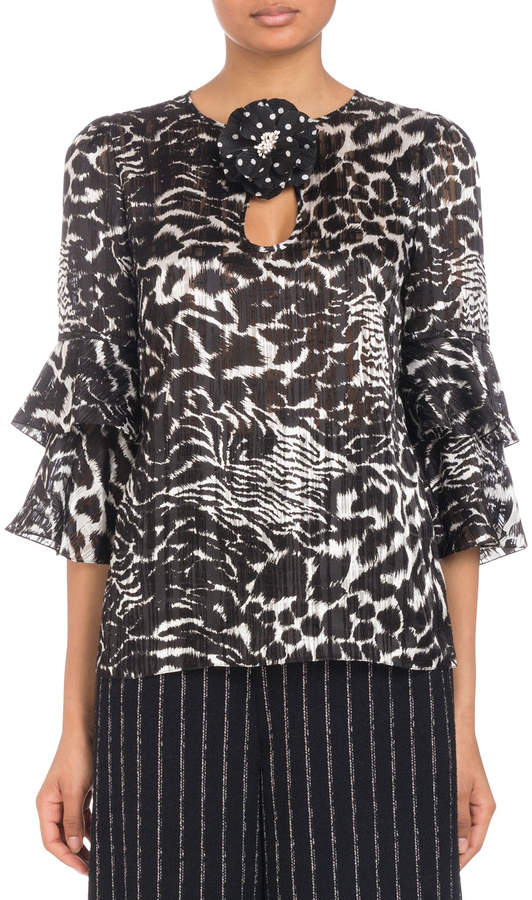 Andrew Gn 3/4 Flutter-Sleeve Animal-Print Silk Blouse with Flower Keyhole