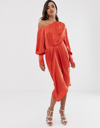 ASOS DESIGN one shoulder blouson midi dress in washed satin