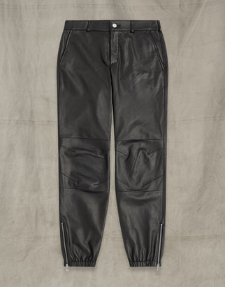 Belstaff MILITAIRE LEATHER TROUSERS Black UK 4 /