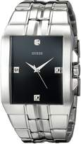 GUESS GUESS? Men's U10014G1 Dressy Silver-Tone Rectangular Diamond Accented Dress Watch