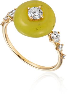 Fernando Jorge Orbit Diamond, Serpentine 18K Yellow Gold Ring