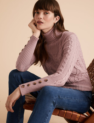 Marks and Spencer Cable Knit Roll Neck Fitted Jumper