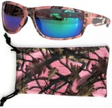 VertX Women's Camouflage Sport Sunglasses Running Outdoor Fishing - Pink Camo Frame Green Lens