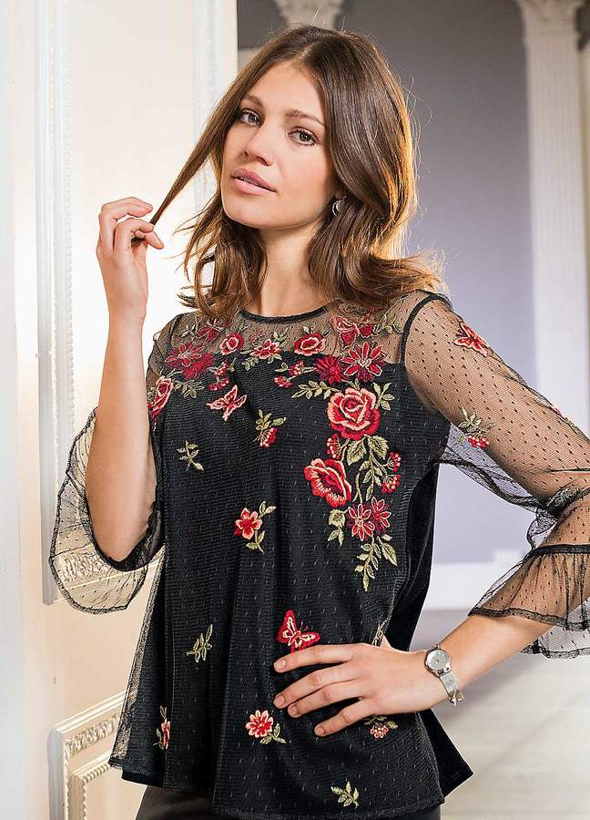 Together Embroidered Mesh Top