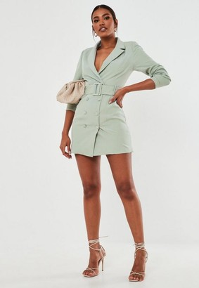 Missguided Mint Belted Blazer Dress