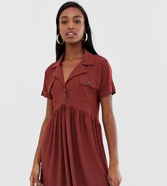 Asos Tall DESIGN Tall safari mini textured smock dress with button detail-Orange