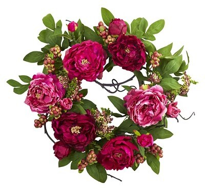 Nearly Natural Mixed Peony and Berry Silk Wreath Fuchsia 20
