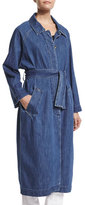 MiH Jeans Long-Sleeve Belted Long Denim Coat, Stone Blue