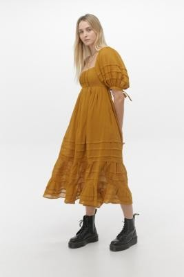 Free People Let's Be Friends Gold Midi Dress - orange S at Urban Outfitters