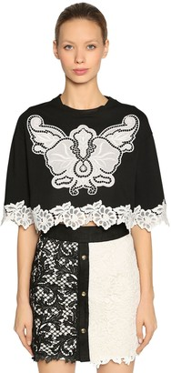 Fausto Puglisi Jersey Cropped T-Shirt W/ Lace