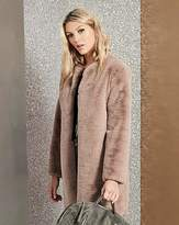 Fashion World Faux Fur Coat With Bow Tie