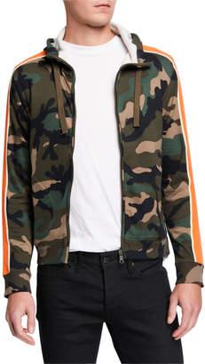 Valentino Men's Camu Stripe-Sleeve Fleece Zip-Front Hoodie