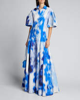 Carolina Herrera Floral Print Cotton-Silk Pleated Shirt Gown