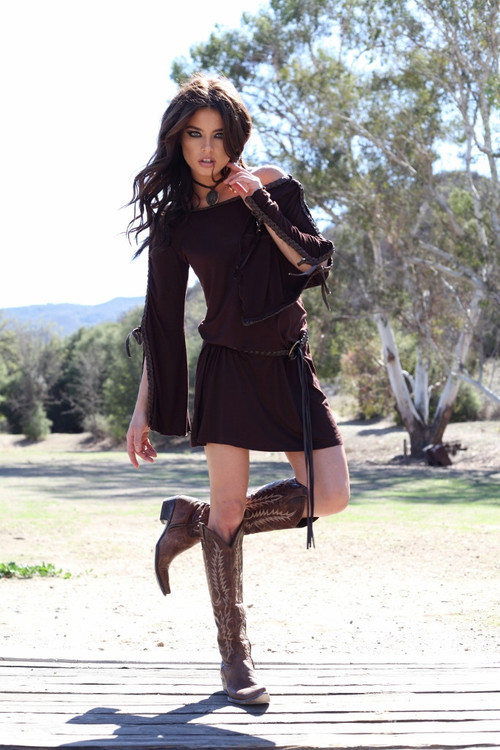 Union of Angels Skylar Dress With Faux Leather Braiding