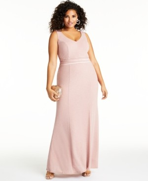 City Studios Trendy Plus Size Allover-Glitter V-Neck Gown