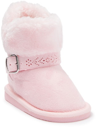 Bebe Faux Fur Lined Buckle Accent Winter Boot