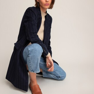 La Redoute Collections Striped Wool Mix Coat