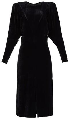 Isabel Marant Geniasi Padded-shoulders Velvet Midi Dress - Black