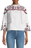 MiH Jeans Edelson Mock-Neck Embroidered Top