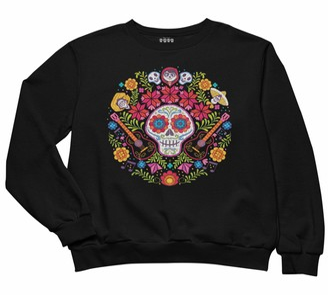 Popgear Disney Coco Day of The Dead Women's Boyfriend Fit Sweatshirt Black M   S-XXL Halloween Loose Baggy Oversized Sweatshirt Birthday Gift Idea for Mom Daughter Sister