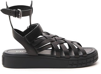 Prada Woven Strapped Sandals