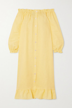 Sleeper Ruffled Linen Midi Dress - Yellow