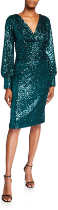 Rickie Freeman For Teri Jon Sequin Blouson-Sleeve Ruched-Waist Cocktail Dress