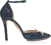 Charlotte Olympia Twilight Princess Night Sky Blue and Fantasy Silver Glitter Fabric D'Orsay Pump