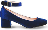 Office Flashback velvet mary jane block heels