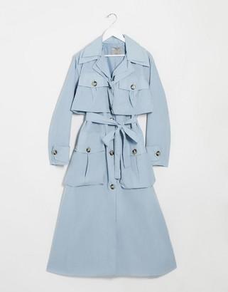 ASOS DESIGN layered utility taffeta trench coat in baby blue