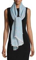 Armani Collezioni Cotton-Blend Burnout Striped Stole, Turquoise